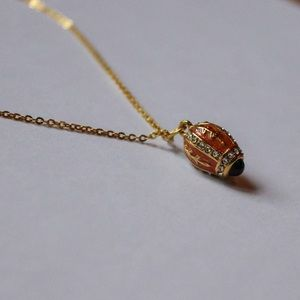 Faberge style 24 karat gold plate necklace